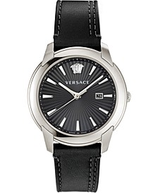 Men's Swiss V-Urban Black Calf Leather Strap Watch 42mm