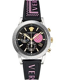 Women's Swiss Chronograph Sport Tech Pink Logo & Black Silicone Strap Watch 40mm