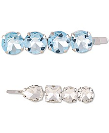 Silver-Tone 2-Pc. Set Aqua Crystal Hair Pins