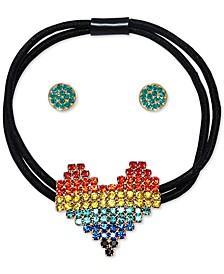 Gold-Tone Multicolor Pavé Heart Ponytail Hair Tie & Stud Earrings Set