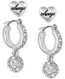 Silver-Tone 2-Pc. Set Heart Stud & Crystal Huggie Hoop Earrings