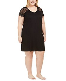 Plus Size Lace Sleeve Chemise Nightgown, Created for Macy's