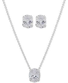 Oval Stone Pendant Necklace & Stud Earrings Set