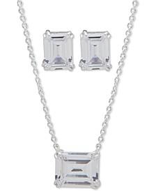 Emerald-Cut Stone Pendant Necklace & Stud Earrings Set