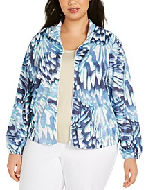 Plus Size Classics Abstract Butterfly Zip-Front Jacket
