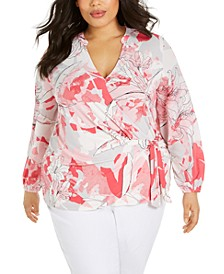 Plus Size Surplice Side-Tie Top, Created for Macy's