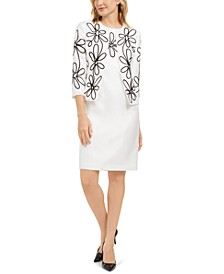 Sheath Dress & Embroidered Blazer