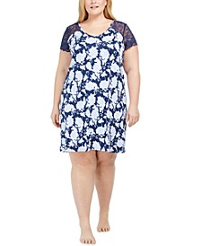 Plus Size Lace Sleeve Nightgown, Created for Macy's