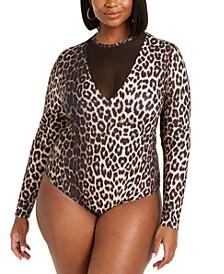Trendy Plus Size Mesh-Detail Slinky Bodysuit, Created for Macy's