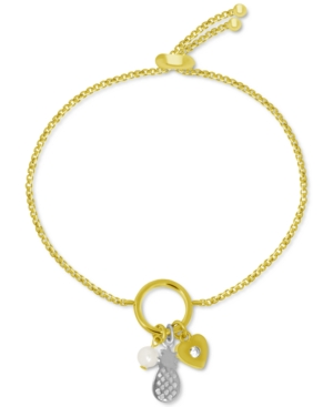 Pineapple & Imitation Pearl Charm Bolo Bracelet in Gold-Plate & Fine Silver-Plate