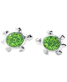 "Green Crystal Turtle Stud Earrings (3/8"") in Sterling Silver"