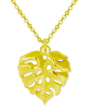 Palm Frond Pendant Necklace in Gold-Plate
