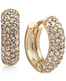 Gold-Tone Small Micropavé Huggie Hoop Earrings, 7/10""