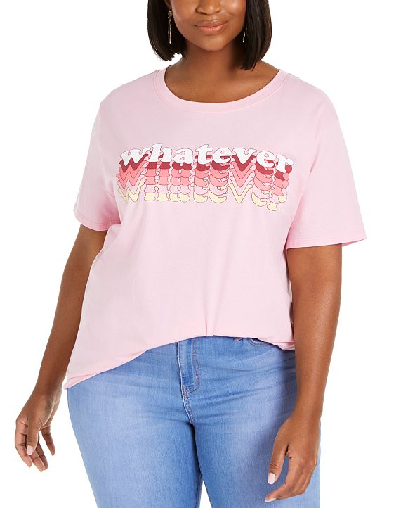 Mighty Fine Trendy Plus Size Cotton Whatever Graphic T-Shirt