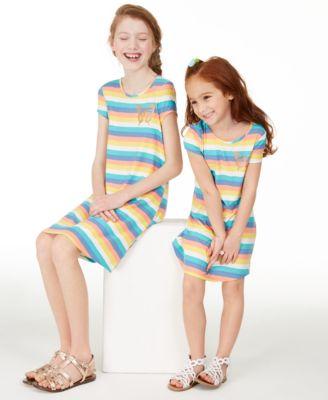 Big Girls Rainbow Stripe T-Shirt Dress, Created for Macy's