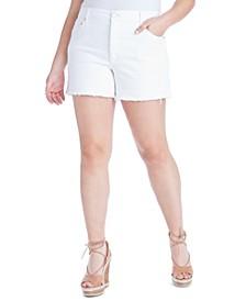 Trendy Plus Size Infinite High-Waist White Jean Shorts