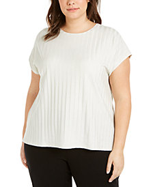 Eileen Fisher Plus Size Tonal-Stripe Top