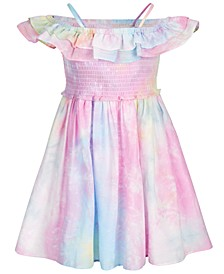 Little Girls Tie-Dye Off-The-Shoulder Dress