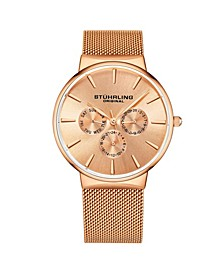 Men's Rose Gold Mesh Stainless Steel Bracelet Watch 39mm