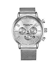 Stuhrling Men's Silver Tone Mesh Stainless Steel Bracelet Watch 48mm