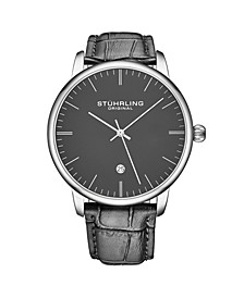 Men's Gray Leather Strap Watch 43mm