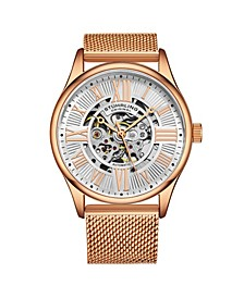 Men's Rose Gold Stainless Steel Bracelet Watch 42mm