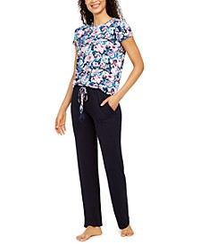 Floral-Print Pajama T-Shirt & Solid Pants Separates