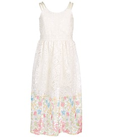 Big Girls Lace Floral Border Maxi Dress