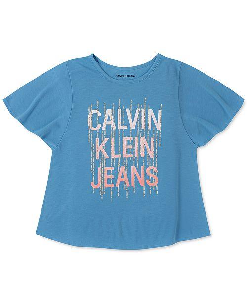 Calvin Klein Big Girls Logo Flutter T-Shirt