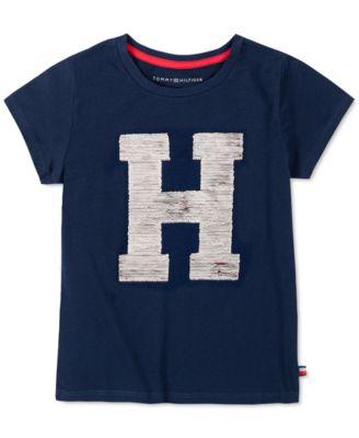 Tommy Hilfiger Girls Flippable Sequin Tee Shirt T-Shirt