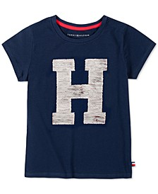 Little Girls Flip Sequin H Logo T-Shirt