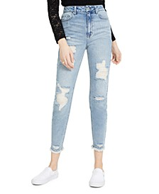 Juniors' Distressed Mom Jeans