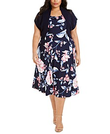 Plus Size Floral-Print Knit-Bolero Dress