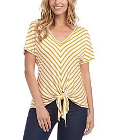 Mitered-Stripe Tie-Front Top