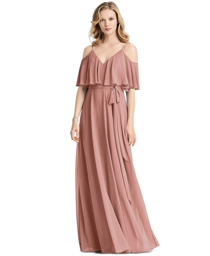 Jenny Packham - Ruffled Cold-Shoulder Maxi Dress