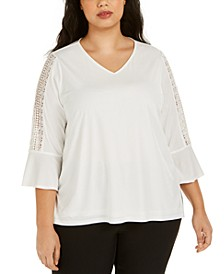 Plus Size Lace-Trim Blouse