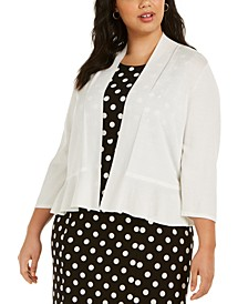 Plus Size Open-Front Ruffled Cardigan