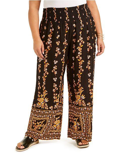 Band of Gypsies Trendy Plus Size Printed Palazzo Pants