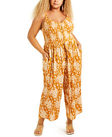 Band of Gypsies Trendy Plus Size Palazzo Jumpsuit