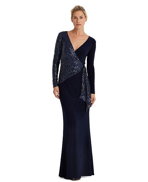 Lauren Ralph Lauren Sequined Wrap-Style Gown