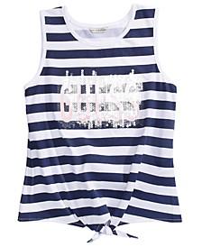 Big Girls Tie-Front Striped Logo Tank Top