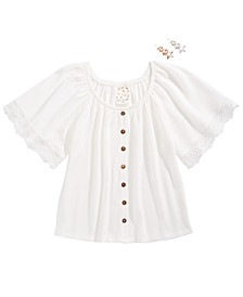 Big Girls Lace-Trim Top & Barrettes