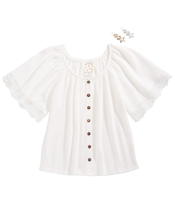 Belle Du Jour Big Girls Lace-Trim Top & Barrettes