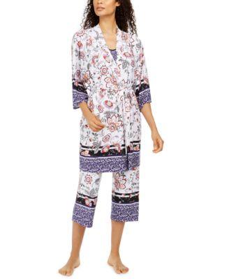 Mixed-Print Cropped Pajama Set