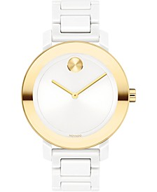 Women's Swiss Bold White Ceramic Bracelet Watch 36mm