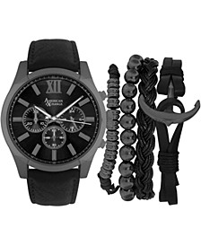 Men's Black Strap Watch 47mm Gift Set