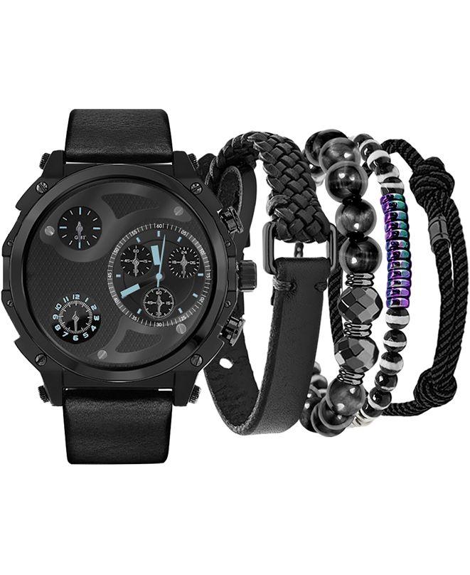 American Exchange Men's Black Strap Watch 40mm Gift Set