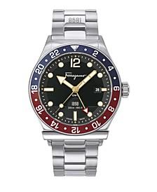 Men's Swiss 1898 Sport GMT Stainless Steel Bracelet Watch 44mm