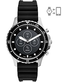 Men's FB-01 HR Black Silicone Strap Hybrid Smart Watch 42mm