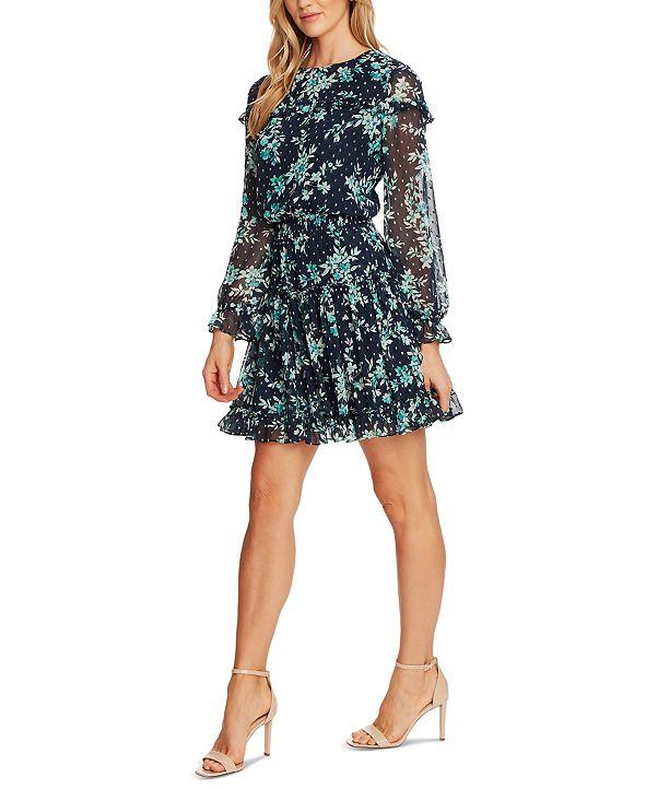 CeCe Ruffled Floral-Print Dress